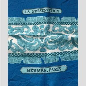 """Hermes Accessories - Hermès Silk Scarf """"Le Présentation"""" in blue"""